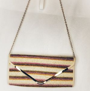 MMS Rainbow Clutch Purse Chainlink Strap.